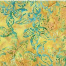 Aqua Leaf on Gold Batik by Anthology Fabrics