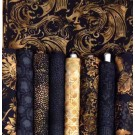 Black Gold Dragons Lair Batik Fat Quarter Bundle by Hoffman Fabrics